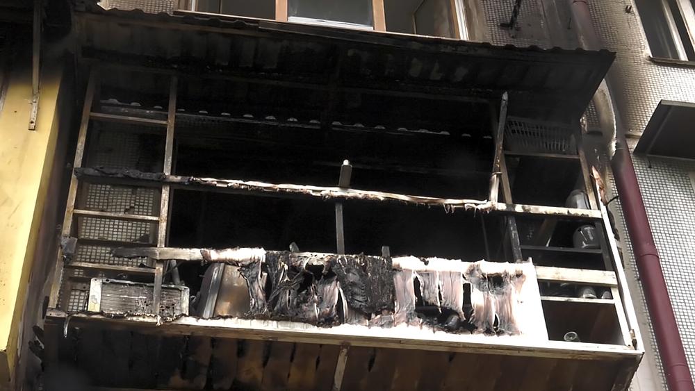 Сгоревший балкон