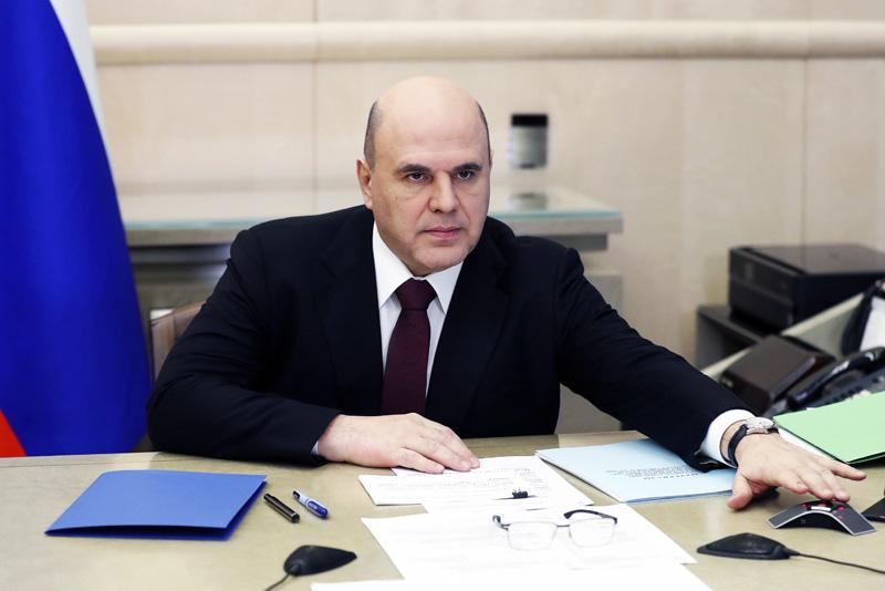 Михаил Мишустин во время совещания с вице-премьерами