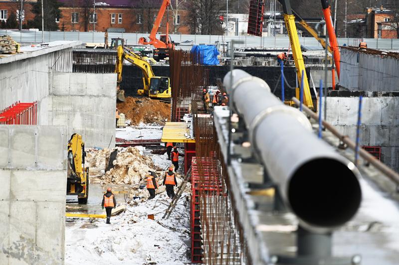 Строители во время реконструкции Люберецких очистных сооружений