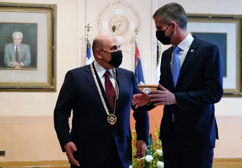 Михаил Мишустин и мэр Афин Костас Бакояннис