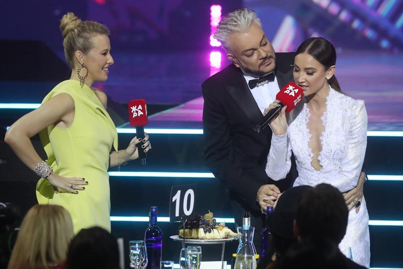 Ксения Собчак, певец Филипп Киркоров и певица Ольга Бузова