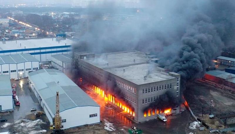 Пожар на складе в Люберцах