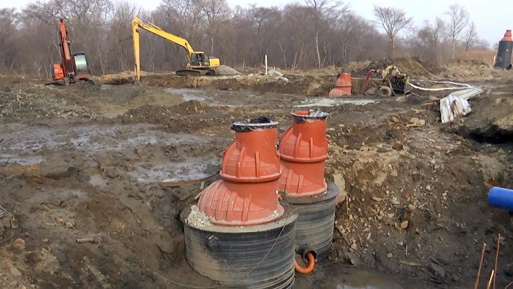 Строительные работы на водозаборе