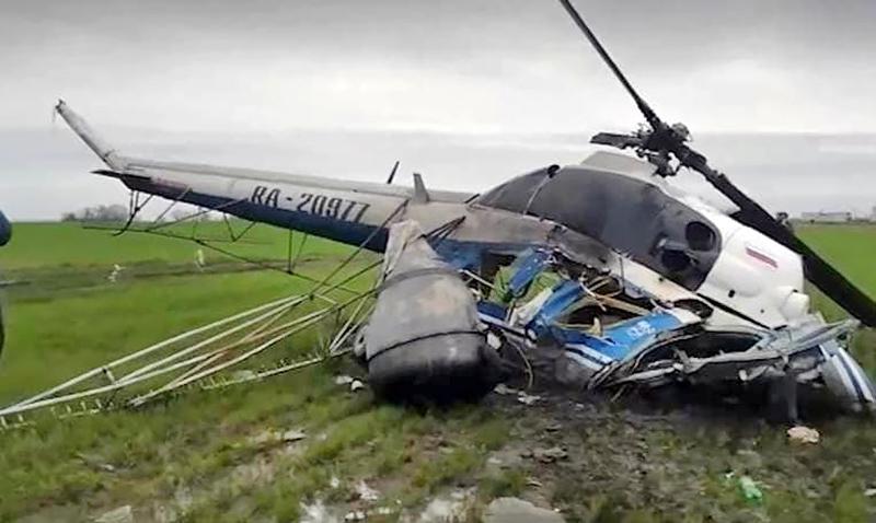Последствия крушения вертолета Ми-2
