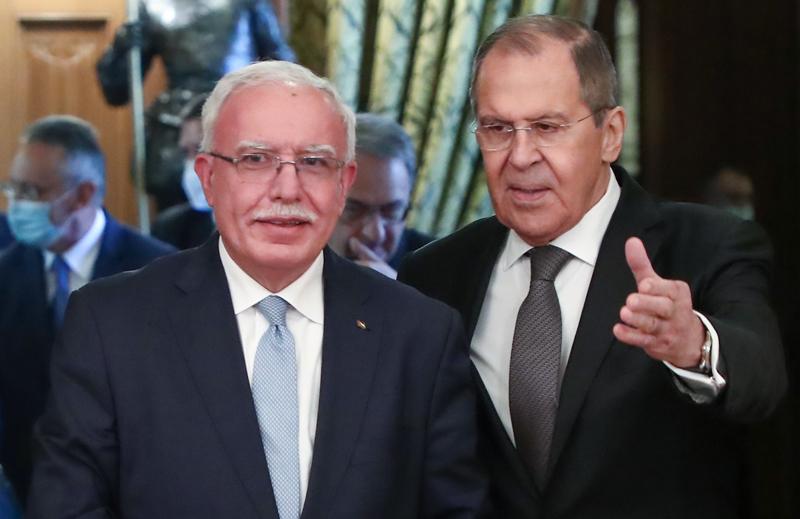 Сергей Лавров и глава МИД Палестины Рияд аль-Малики