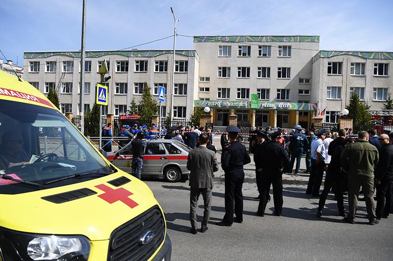 Обстановка у школы в Казани, где произошла стрельба