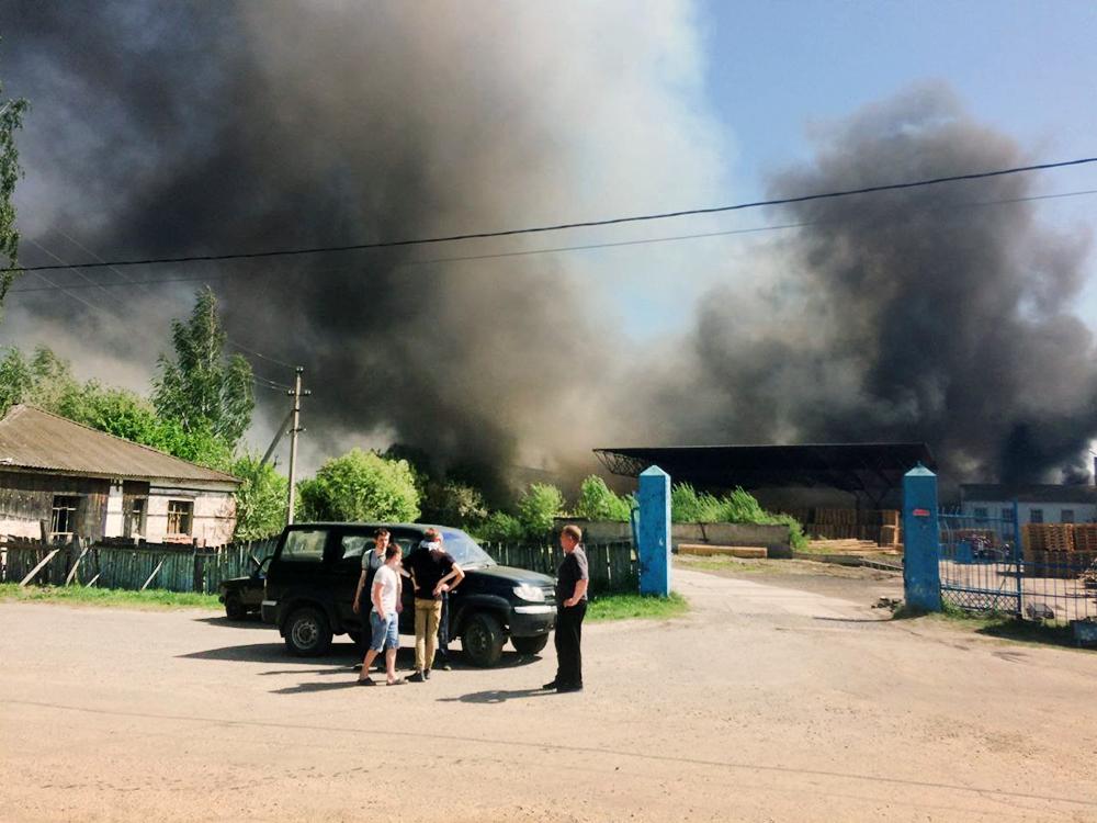 Пожар на лесокомбинате в Ульяновской области