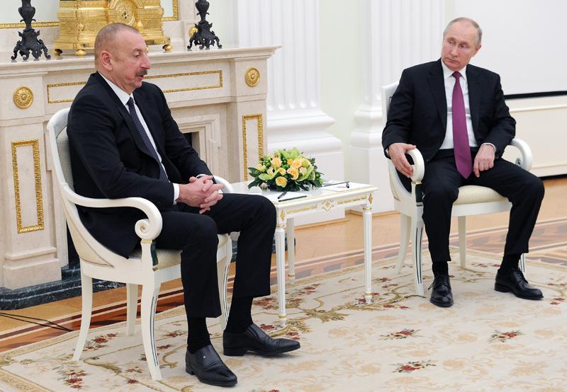 Президент Азербайджана Ильхам Алиев и президент России Владимир Путин
