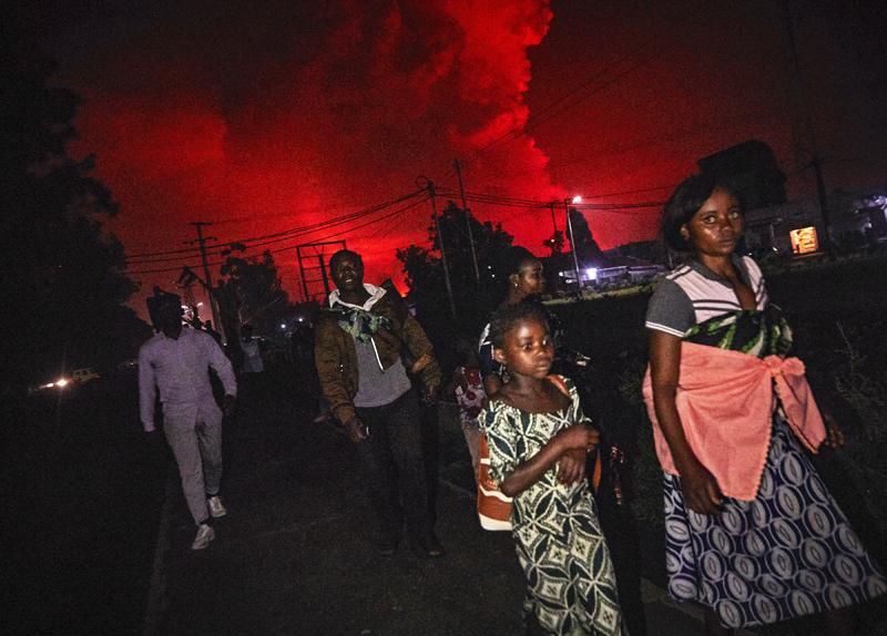 Извержение вулкана Ньирагонго в Конго