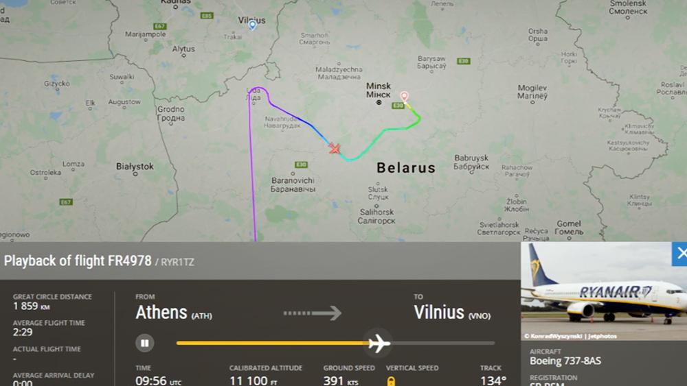 Траектория полета самолета авиакомпании Ryanair