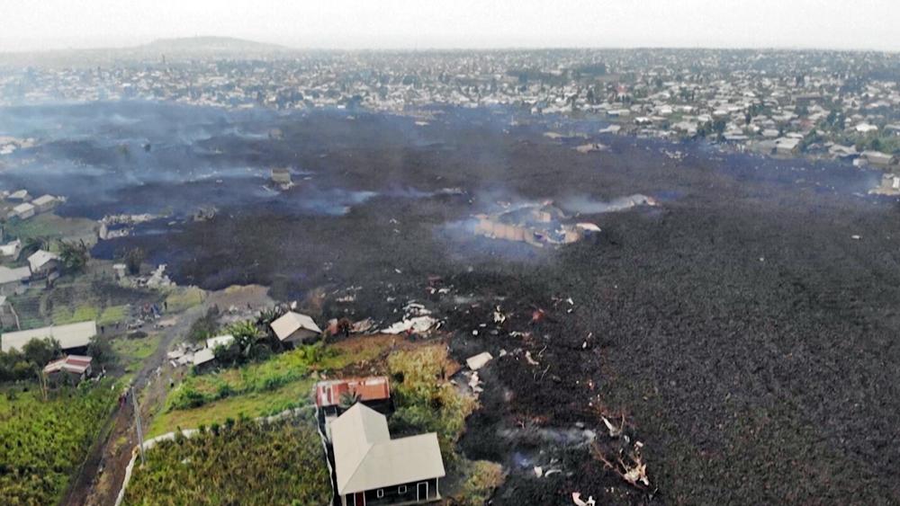 Последствия извержения вулкана в Конго