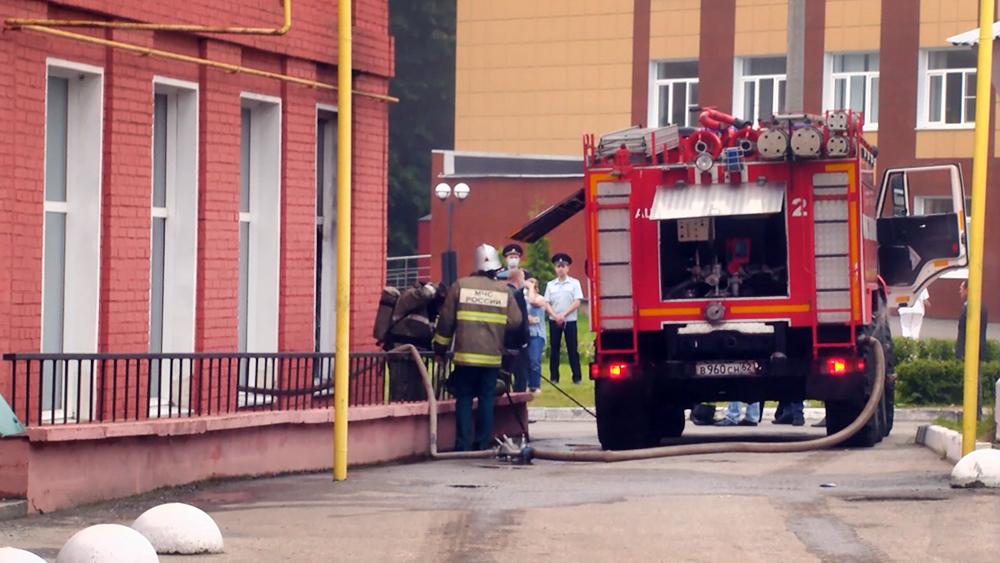 Пожар в областной больнице Рязани