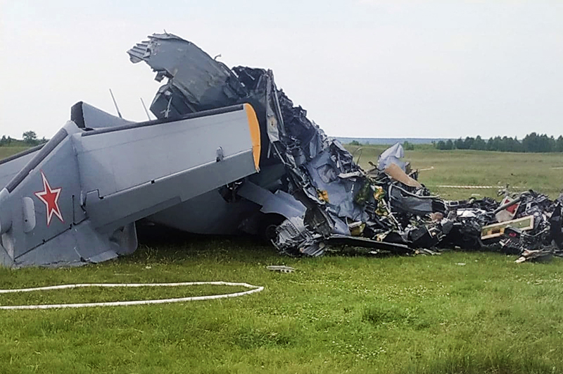 Последствия крушения самолета Л-410 в Кемеровской области