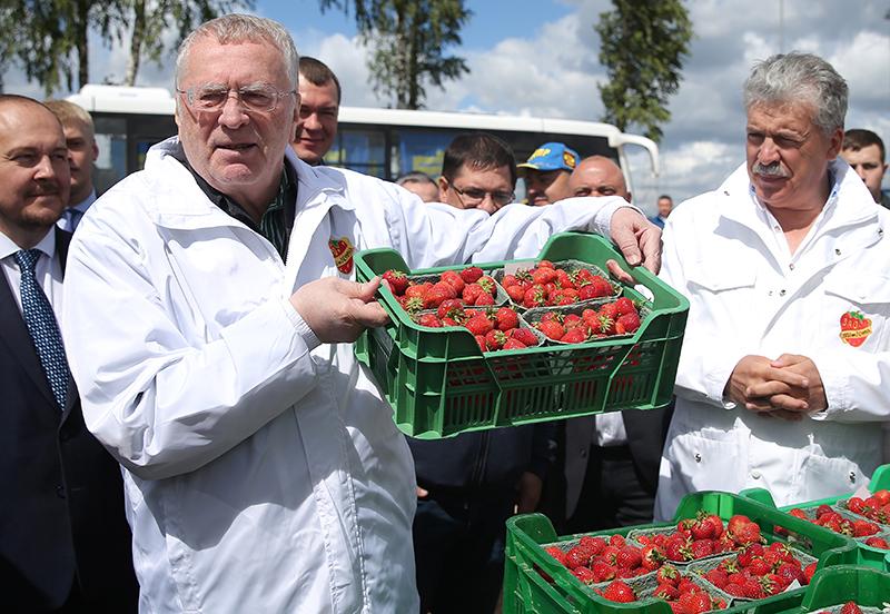 Владимир Жириновский и Павел Грудинин в совхозе имени Ленина