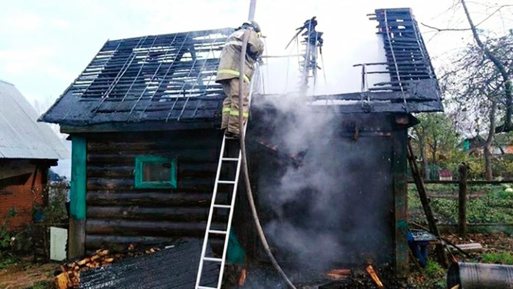 Пожар дома в Смоленске