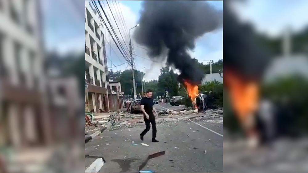 Появилось видео с места взрыва в гостинице в Геленджике