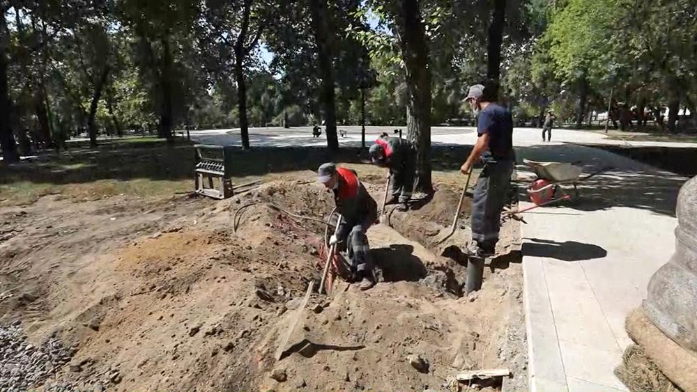 Работы по благоустройству парка