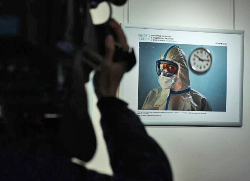 Выставка, посвященная работе врачей в период пандемии