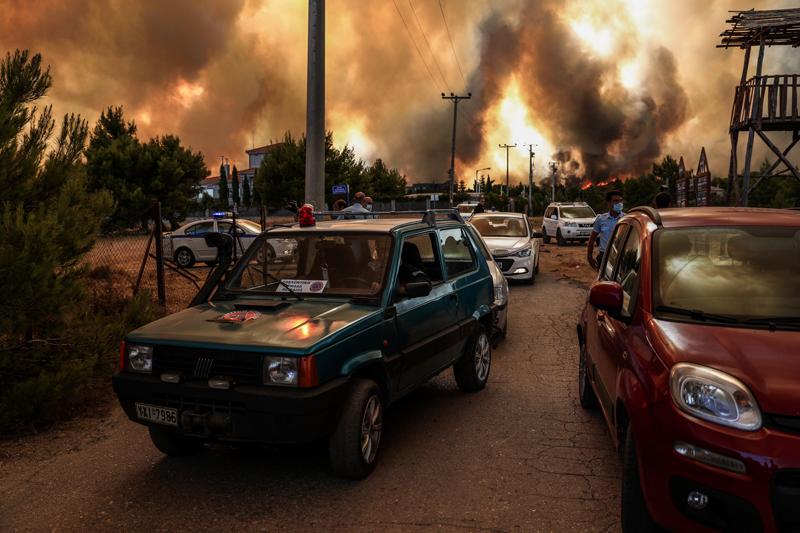 Лесные пожары в Греции