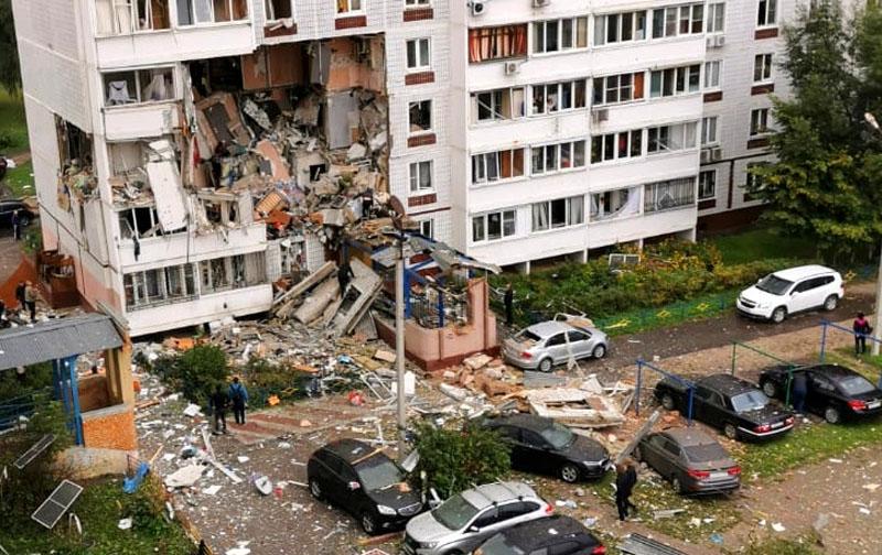 Многоквартирный жилой дом в Ногинске, разрушенный в результате взрыва бытового газа