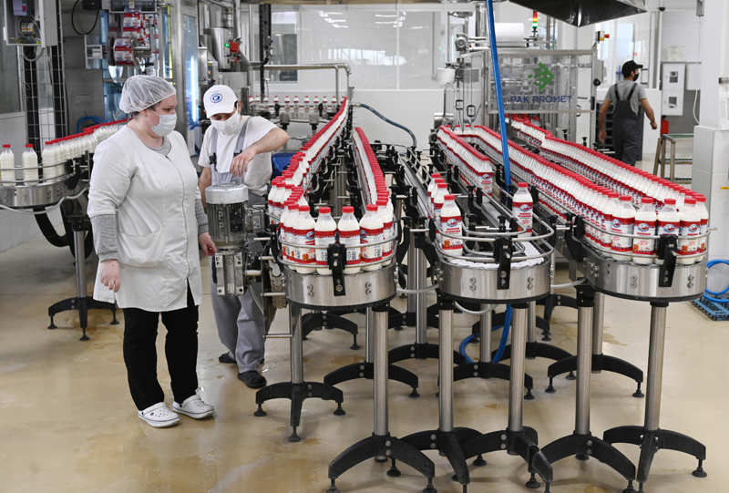 Сотрудники на линии производства молочной продукции