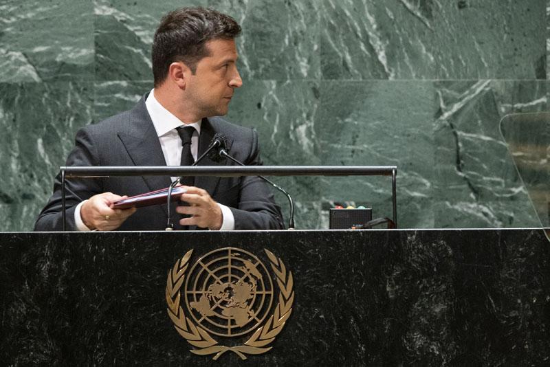 Президент Украины Владимир Зеленский на 76-ой сессии Генеральной Ассамблеи ООН в Нью-Йорке