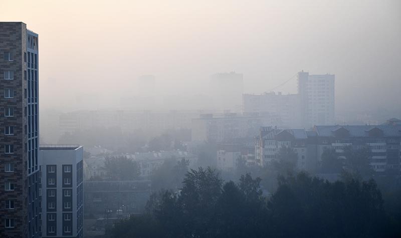 Смог от лесных пожаров в Свердловской области
