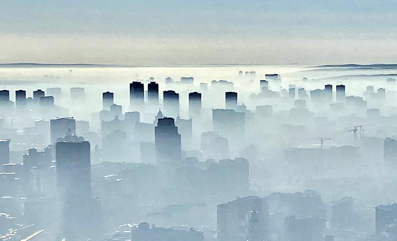 Смог над Екатеринбургом от тлеющих торфяников