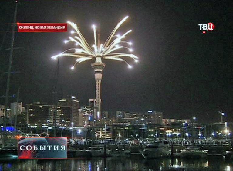 Праздничный фейерверк  в Новой Зеландии