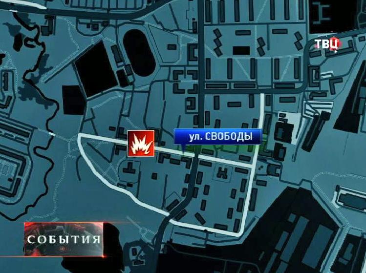 Место взрыва на карте