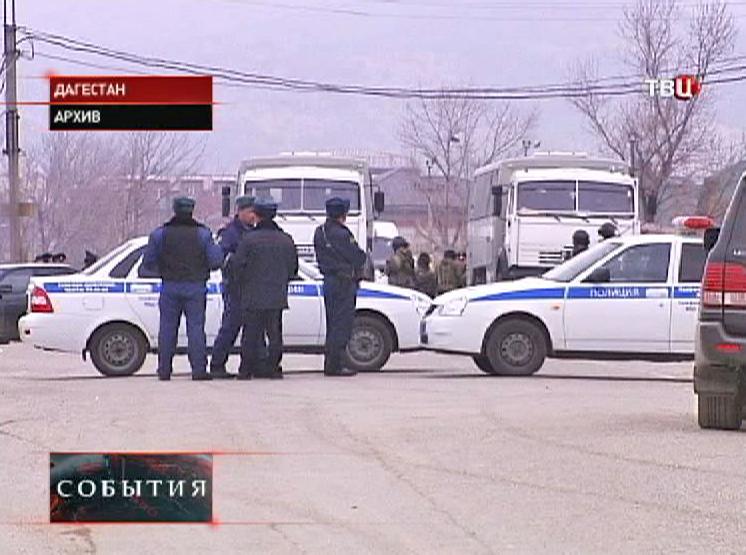 Полиция на месте спецоперации в Дагестане
