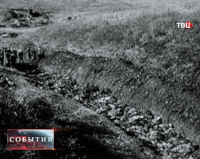 Жертвы Холокоста. Кадр из кинохроники