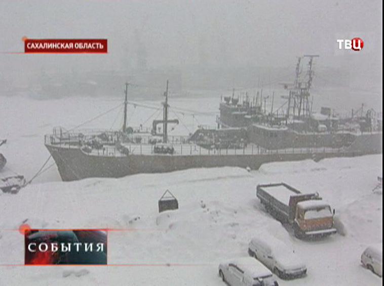 Мощный циклон в Сахалинской области