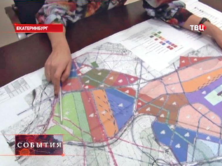 """Карта спорных земель около аэропорта """"Кольцово"""" в Екатеринбурге"""