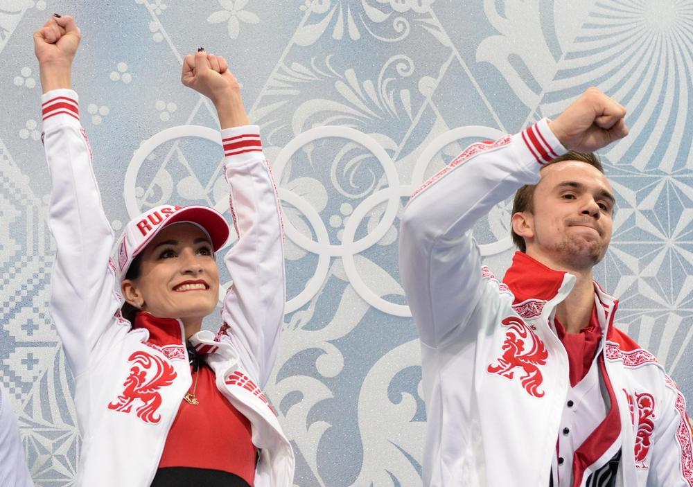 Ксения Столбова и Федор Климов после выступления в произвольной программе парного катания