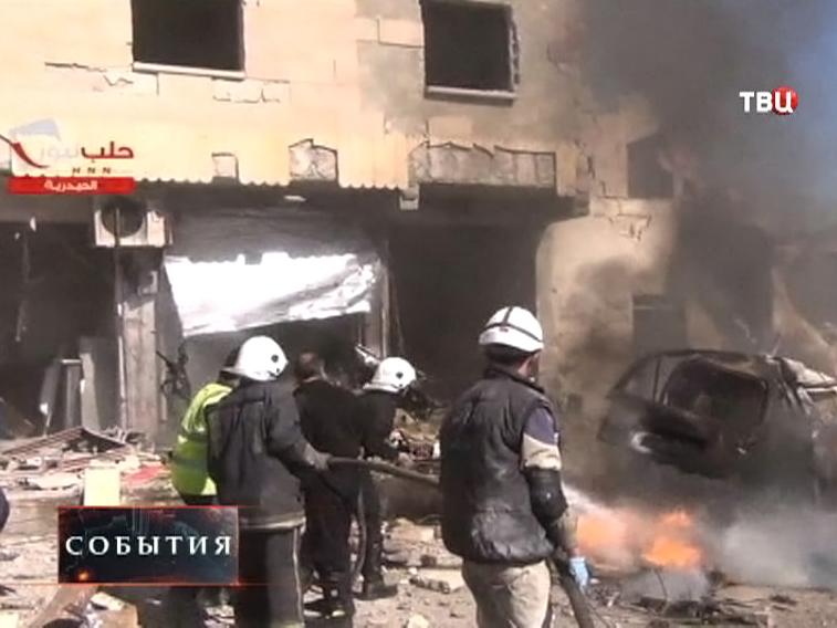 Последствия взрыва в Сирии