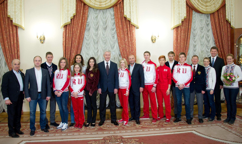 Мэр Москвы Сергей Собянин во время встречи в Москве с победителями и призерами Олимпийских игр в Сочи