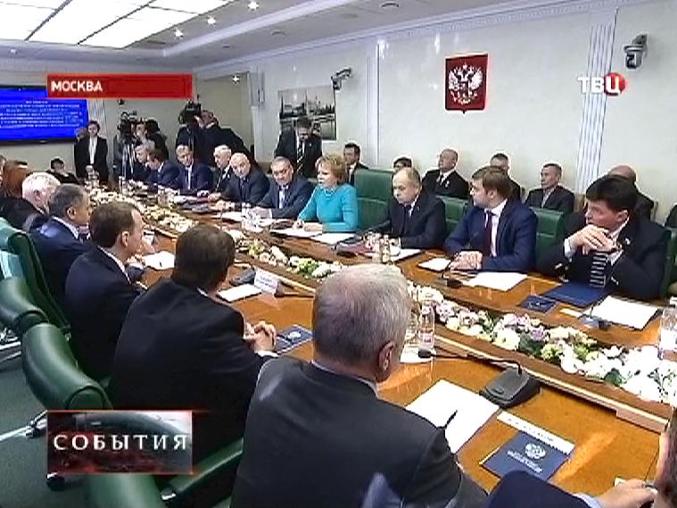 Встреча членов Совета Федерации РФ с делегацией Верховного Совета Крыма