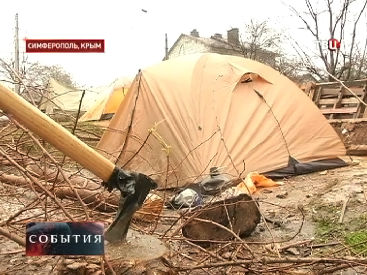 Палаточный лагерь народной дружины Крыма в Симферополе