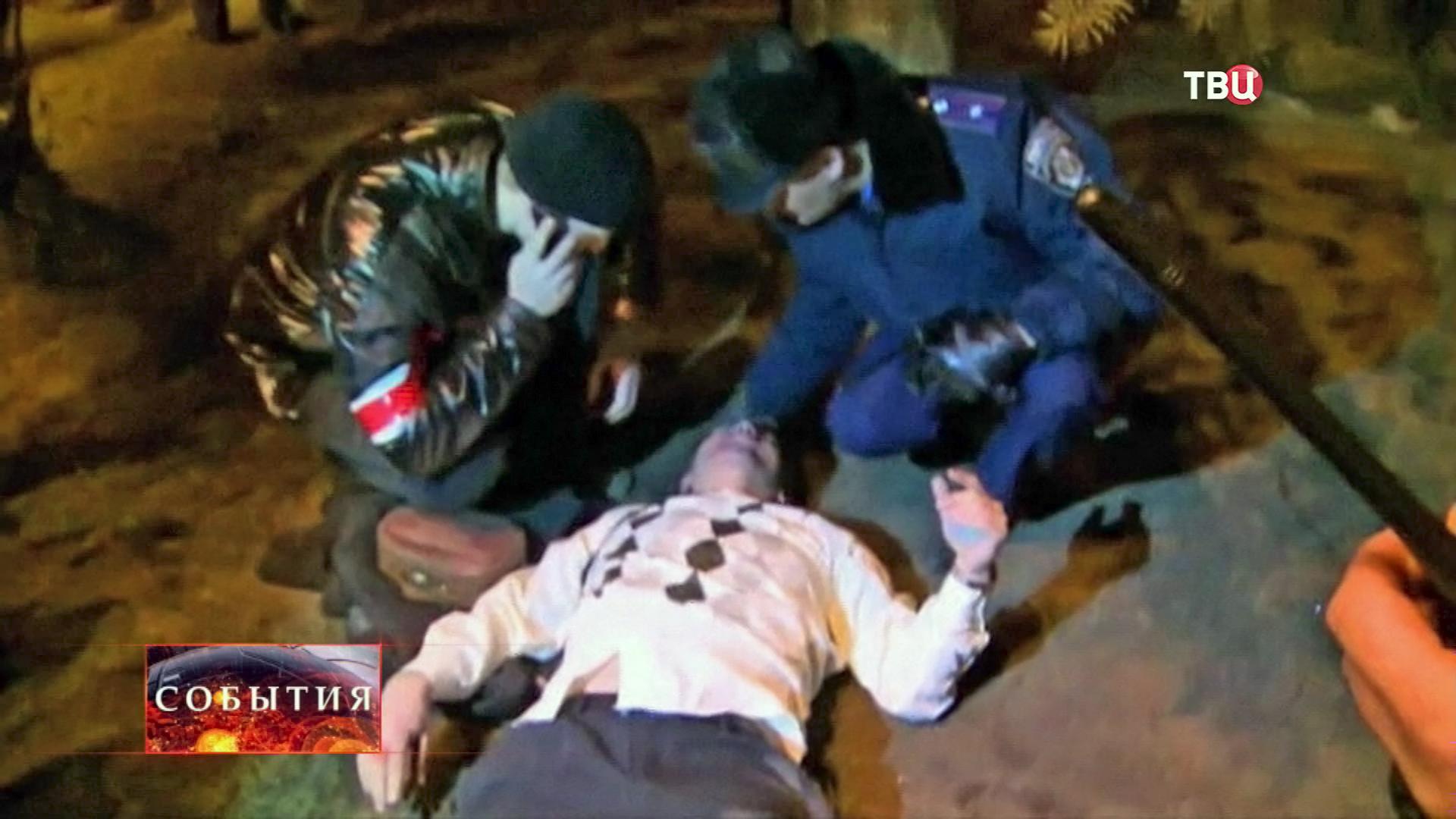 Пострадавший в уличных столкновениях в Донецке