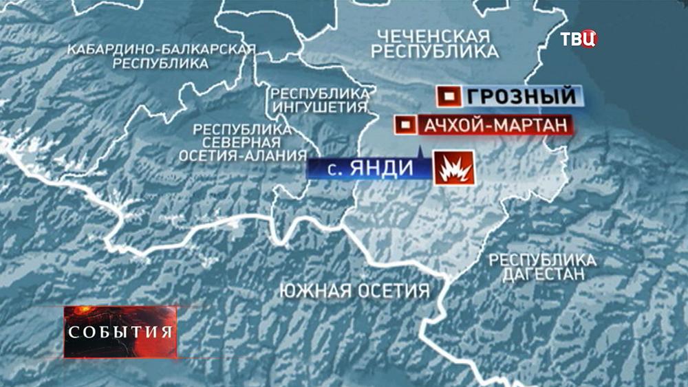 Карта Чеченской республики, где произошёл подрыв БМП