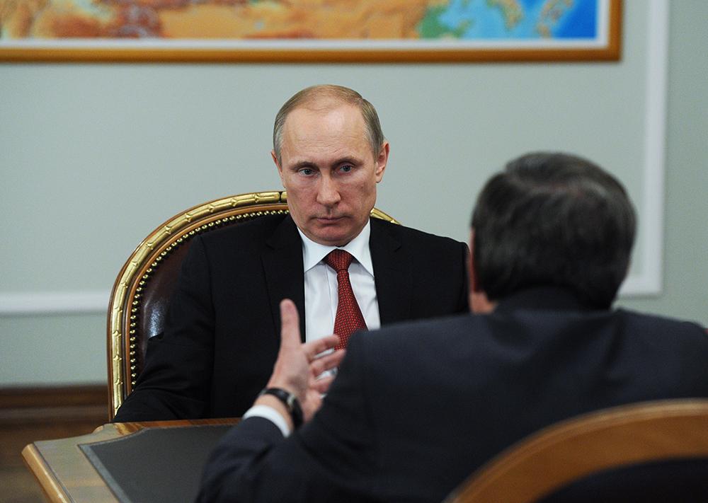 Владимир Путин на встрече с врио мэра Новосибирска Владимиром Городецким