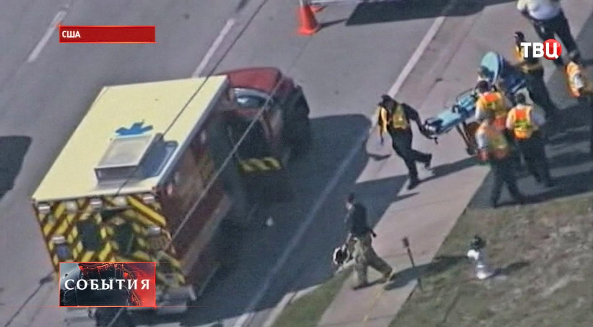 Скорая помощь на месте аварии в США