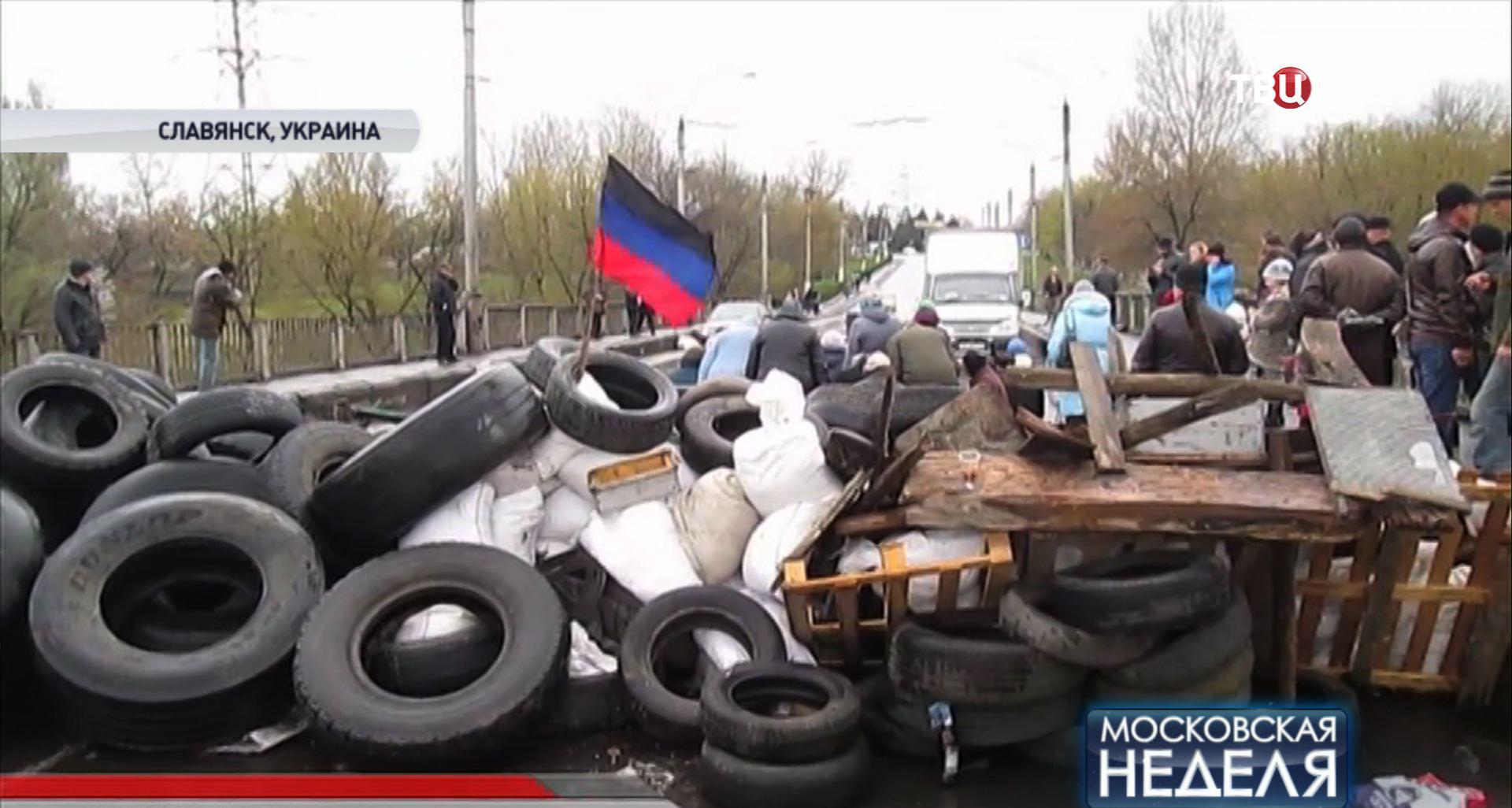 Блокпост на одной из дорог Славянска
