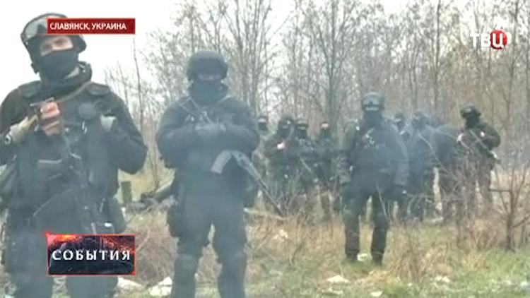 Вооруженный патруль в Славянске