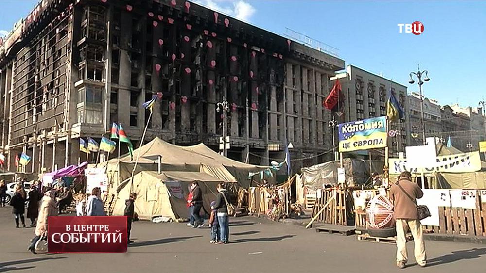Палаточный лагерь на Майдане в Киеве